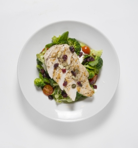 Chicken salad with roasted pumpkin seeds and broccoli