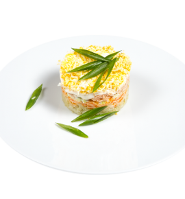 "Salad ""Mimosa"" with salmon"