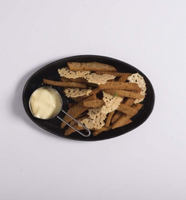 Fried bread with cheese and mayonnaise
