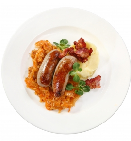 Sausages with braised cabbage