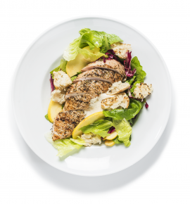 Grilled chicken salad with apple and red cabbage